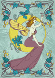 Beautiful poster in art nouveau style with fairy woman and moon and floral frame Royalty Free Stock Images