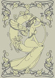 Beautiful poster in art nouveau style with fairy woman and moon and floral frame. Can be used for party invitations, vector illustration Stock Images