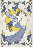 Beautiful poster in art nouveau style with fairy woman and moon and floral frame Royalty Free Stock Photography