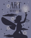 Beautiful poster in art nouveau style with fairy woman on night starry background. Can be used for party invitations, vector illustration Royalty Free Stock Photos