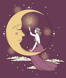 Beautiful poster in art nouveau style with party woman and moon in starry sky Stock Photos