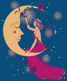 Beautiful poster in art nouveau style with party woman and moon in starry sky Royalty Free Stock Image