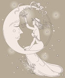 Beautiful poster in art nouveau style with party woman and moon in starry sky. Can be used for party invitations, vector illustration Stock Image