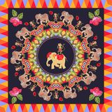 Beautiful poster with cute elephants, cheerful dancing monkeys. Round ornament with paisley, roses and multicolor frame on black background. Festive indian Royalty Free Stock Photo