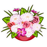 Beautiful pot of pink and white flowers. Vector. Illustration on white background in cartoon style. Flower series Stock Photography