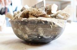 Beautiful pottery bowl pottery working place stock photo