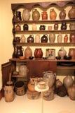 Beautiful pottery exhibit on display, Old Sturbridge Village, Sturbridge, Mass,2015 Stock Photography