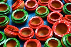 Pottery pots background. Beautiful pottery works photograph that has been captured from the rural area in Bangladesh royalty free stock images