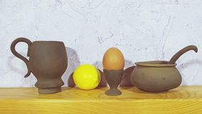 Pottery. Beautiful pottery on wooden background Stock Images