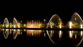 Beautiful pouring water show of famous dancing fountains Ardagani lake, Batumi stock video