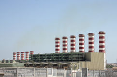 Beautiful power plant chimneys in Bahrain Royalty Free Stock Photography
