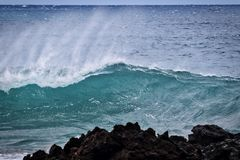 Beautiful power of the surf at La Perouse Bay on Maui. Stock Photos