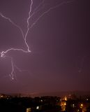 Beautiful powerful lightning, night photo Royalty Free Stock Photography
