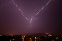 Beautiful powerful lightning over city Royalty Free Stock Photo