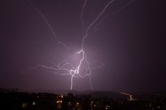 Beautiful powerful lightning over city Royalty Free Stock Images