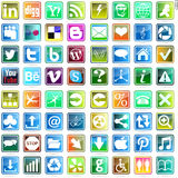 Beautiful and practical web icon. Badge   Button  Facebook  Plus  Wordpress  Digg   Blogger  Rss  Social  Behance  Yahoo Stock Photo