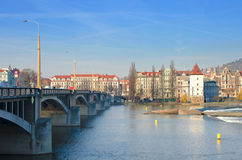 Beautiful Prague bridges and quays Stock Image