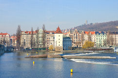 Beautiful Prague Quay, Vlatava river, Prague Royalty Free Stock Photo