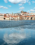 Beautiful Prague reflected in the river Stock Photography