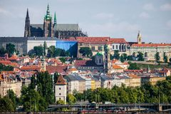 Beautiful Prague seen from Vysehrad. royalty free stock photos