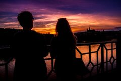 Beautiful Prague sunset, Czech Republic Stock Photo