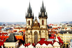 Beautiful Prague view and Tyn church Stock Image