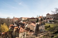 Beautiful Praha city scenery from footpath connecting Novy svet and Keplerova street in Czech republic. During early spring day with blue sky stock photo