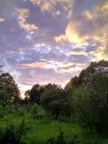 Beautiful pre-sunset nature under the sunset sky in Russia in summer royalty free stock images