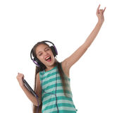 Beautiful pre-teen girl dancing and going crazy Stock Photography