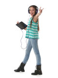 Beautiful pre-teen girl dancing and going crazy Royalty Free Stock Images