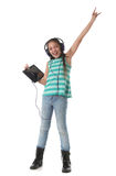 Beautiful pre-teen girl dancing and going crazy Stock Photos