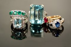 Beautiful precious gemstone rings Stock Images