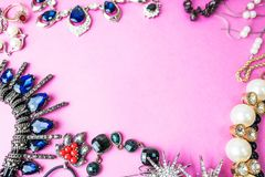 Beautiful precious shiny jewelery trendy glamorous jewelry set, necklace, earrings, rings, chains, brooches with pearls stock images