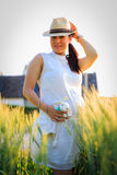 Beautiful Pregnant Asian Woman in Rice Field Royalty Free Stock Photography