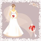 Beautiful pregnant bride silhouette Royalty Free Stock Photo