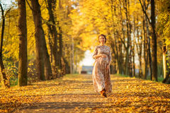 Beautiful Pregnant female in autumn. With flowers Stock Photos