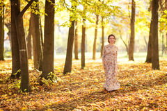 Beautiful Pregnant female in autumn Stock Photography