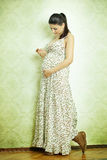 Beautiful pregnant female. At home Stock Photo