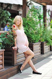 Beautiful pregnant girl. Full length portrait outdoors stock photos
