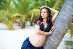 Beautiful  pregnant girl in tropical park. Exotic nature, health Stock Images