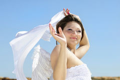 Beautiful pregnant with a girl with wings Royalty Free Stock Images