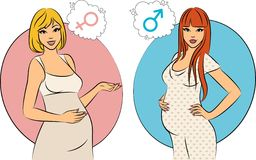 Beautiful pregnant girls. Stock Photos