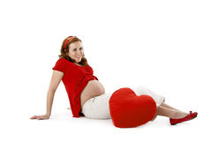 Beautiful pregnant  with heart Royalty Free Stock Photography