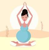 Beautiful pregnant mom practicing yoga pose stock illustration