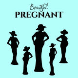 Beautiful pregnant, silhouette royalty free stock images