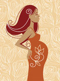 Beautiful pregnant woman. Vector illustration Royalty Free Stock Photography