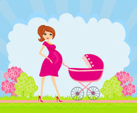Beautiful pregnant woman. Pushing a stroller vector illustration