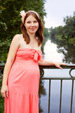 Beautiful pregnant woman on the bridge Royalty Free Stock Images
