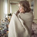 Beautiful Pregnant Woman In Comfy Clothes. Christmas Tree On Background Royalty Free Stock Photo