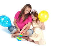 Beautiful pregnant woman with daughter Royalty Free Stock Image